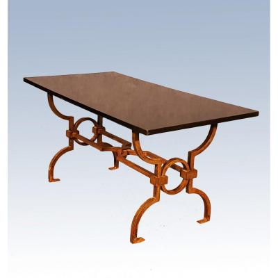 Jacques Adnet (1900-1984) & Gilbert Poillerat (1902-1988) Wrought Iron Coffee Table
