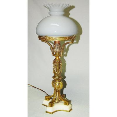 Lamp Gilt Bronze And Carrara Marble