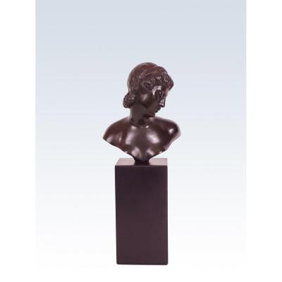 Small Bronze Art Deco Bust By Alexandre Ouline, 1930s