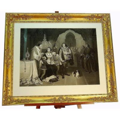Importante Gravure Et Son Cadre Doré Milieu XIXe  Les Fils D'Edouard IV