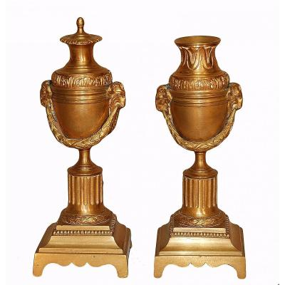 Pair Of Small Bronze Torches With Reversible Binet Late Nineteenth Century
