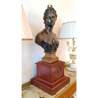 Buste De Diane En Bronze XIXe Jean Antoine Houdon Ht 77 Cm