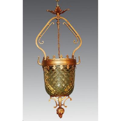 Lanterne En Bronze Et Verre Gauffré