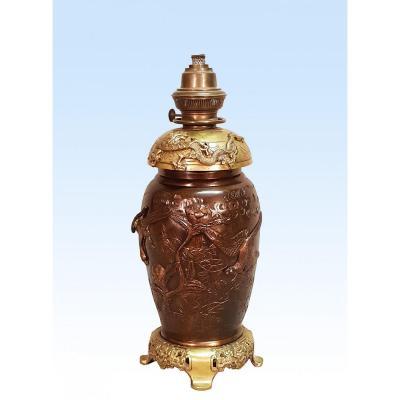 Lampe En Bronze Japon XIXème