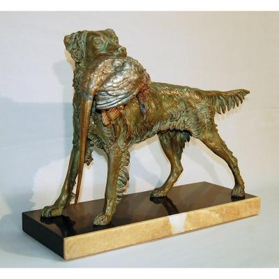 Spaniel Sculpture With Pheasant After Jules Moigniez