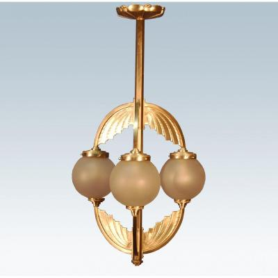 Art Deco Chandelier In Silver Bronze
