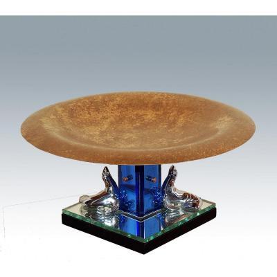 Centre De Table Art Déco Bronze Et Verre Teinté De Murano
