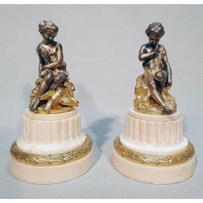 Falconet E.M Couple De Sujets En Bronze Doré Et Argenté Au Mercure XVIIIe siècle