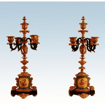 Pair Of Gilt Bronze And Sèvres Porcelain Candelabra