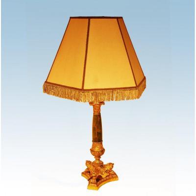 Grande Lampe Empire Bronze Doré Et Onyx Ht 78 Cm