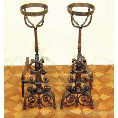 Pair Of Andirons With Horse Heads In Wrought Iron