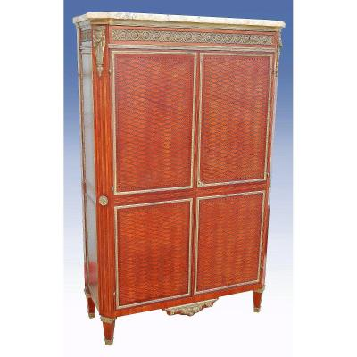 St Louis XVI Inlaid Cabinet In Amaranth And Gilt Bronze (h 165 X L 104)
