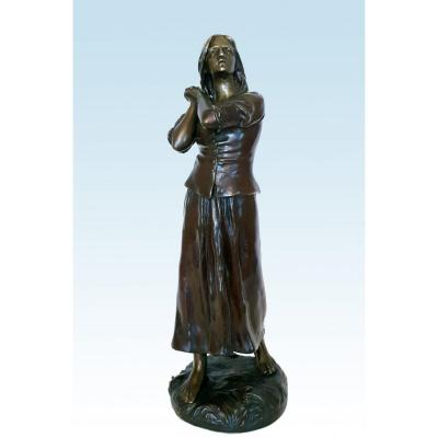 """joan Of Arc"" Or ""faith"" Bronze By Raoul Larche (1879-1912)"