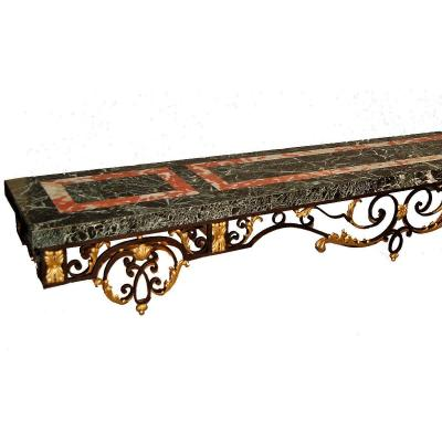 Important Wrought Iron Console Late Nineteenth Century (l 290 Cm)