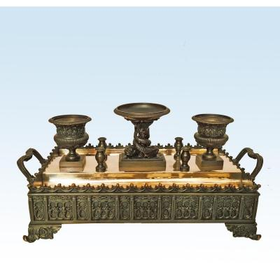 Important Writing Cabinet Inkwell In Bronze Restoration Period