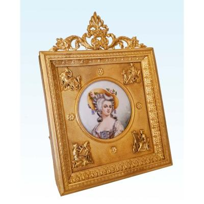 Miniature On Ivory Nineteenth In Its Golden Brass Frame