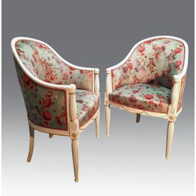 Pair Of Art Deco Lacquered Wood Armchairs