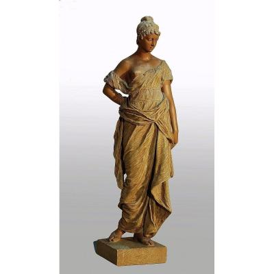 Goldscheider Large Sculpture Woman Dressed In An Antique Drape