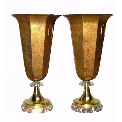 Important Pair Of Patinated Brass Lamps With Acid And Cut Crystal, Marble Base, Art Deco