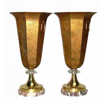 Importante Paire De Lampes  Laiton Patiné à l'Acide Et Cristal Taillé, Base En Marbre, ArtDéco 1925