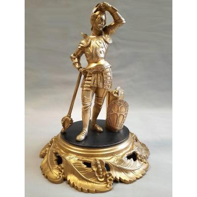 Sculpture En Bronze Croisé En Armure XIXe Siècle
