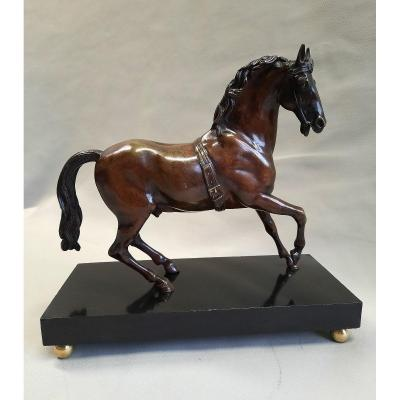 Horse Bronze Sculpture On A Black Marble Base Early Nineteenth