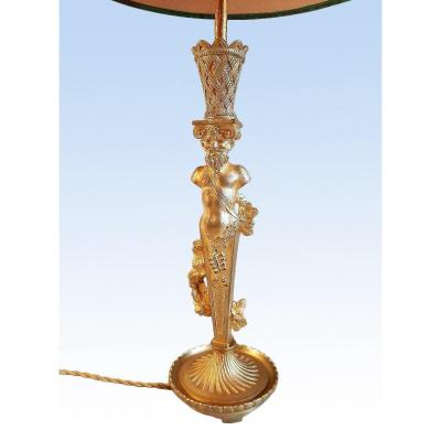 Atlante Lamp In Gilt Bronze End Of The Nineteenth Century
