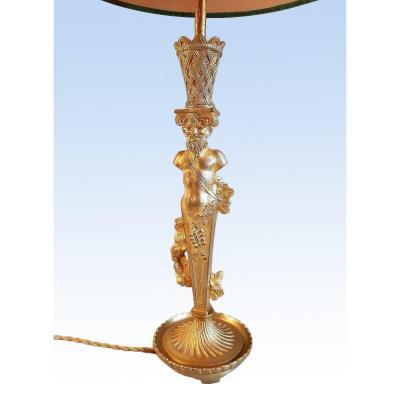 Lampe à Atlante Bacchus  En Bronze Doré Fin Du XIXe Siècle