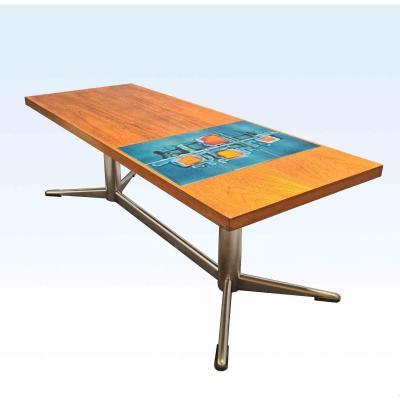Table Basse 60's En Teck Et Céramique