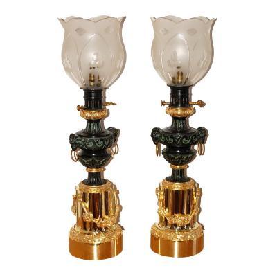 Importante Paire De Lampes Bronze Doré Au Mercure XIXe Siècle