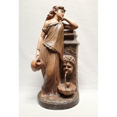 Femme à La Fontaine Sculpture Fin Du XIXe Siècle