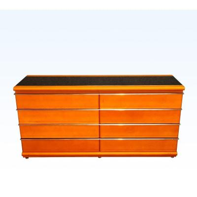 Leather Sheathed Dresser With Opaline Top