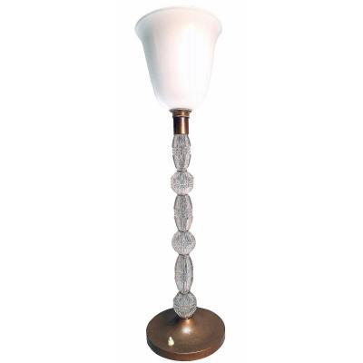 Lampe En Cristal Taillé 1930-1940 (H 75 cm)