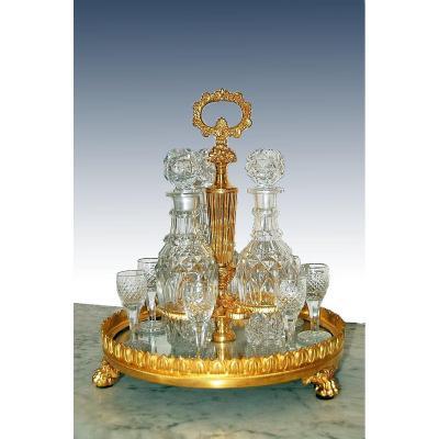 Cabaret En Cristal Taillé Et Bronze Doré Début XIXe Siècle