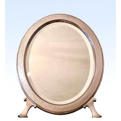 Christofle c.1889 Grand Miroir De Table En Métal Argenté Martelé