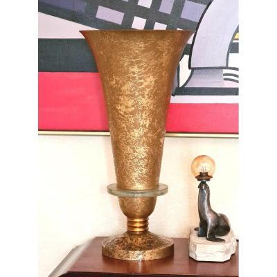 Très Grande Lampe Art Déco Attribuée à Genet Et Michon