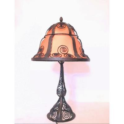 Grande Lampe Art Déco 1925 En Fer Forgé