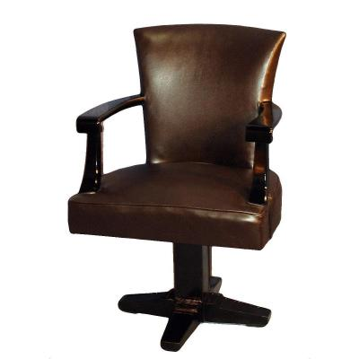 Art Deco Office Chair Upholstered In Leather And Black Lacquered Wood