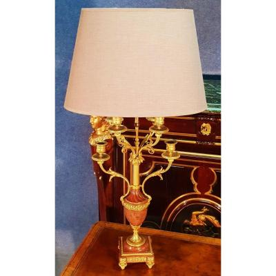 Large Nineteenth Lamp In Pink Marble And Gilt Bronze Ht 86cm