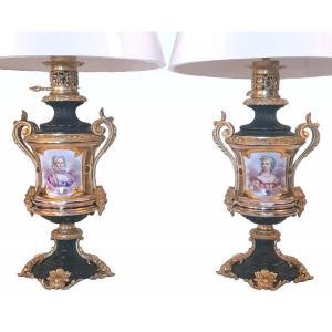 Paire De Lampes En Porcelaine Et Bronze époque Napoléon III