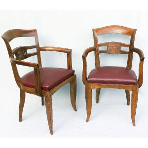 Pair Of 1930 Art Deco Armchairs In Leather And Walnut