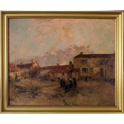 Women In A Farm Court Nineteenth Signed Vauthier