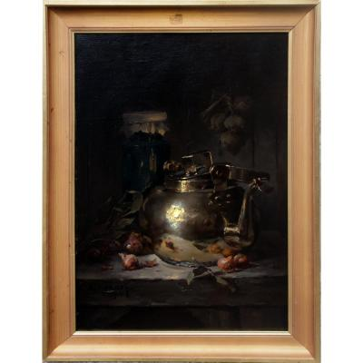 Still Life With Copper Signed M Monnot 1910