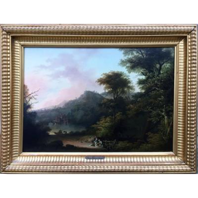 Paysage Lacustre Animé Att. Göbell Gerrit Hendrik (1786/1833)