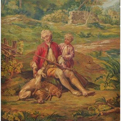 Chasseur Avec Son Fils