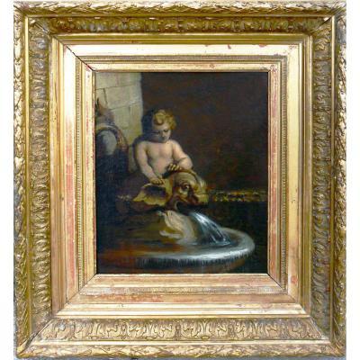 Enfant à La Fontaine XVIIIe
