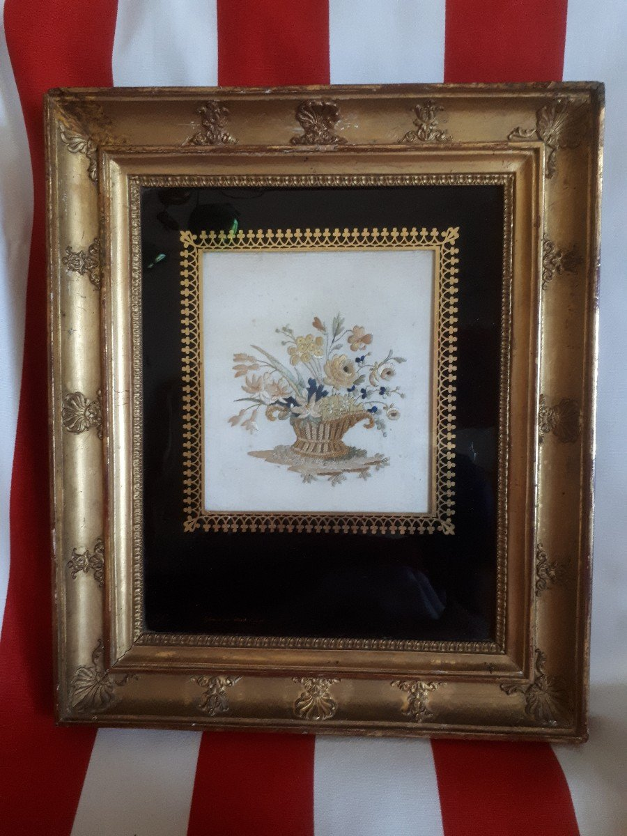 Framed Embroidery Glass Eglomise Hoeth Lyon 19th