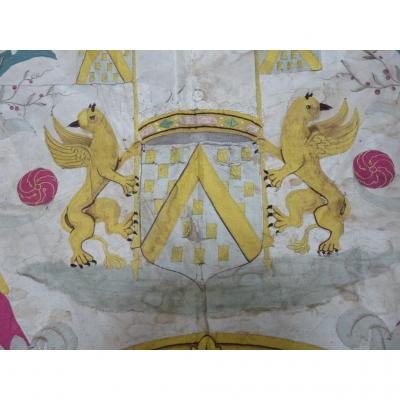 Large Silk Panel Embroidered Coat Of Arms And Dated 1793 Epoque Eighteenth