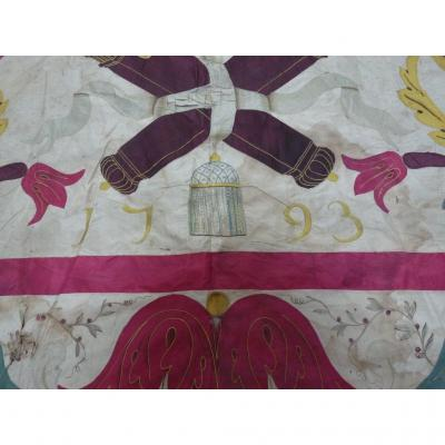 Large Embroidered Silk Panel Dated 1793 Era XVIII Commemoration