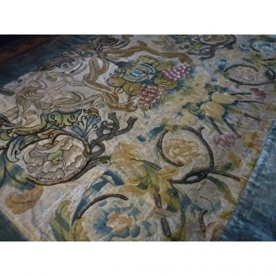 Large Silk Embroidery, Front Of Altar 17th Louis XIII Louis XIV
